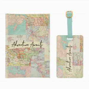 Paspoorthoesje en Bagagelabel wereldkaart