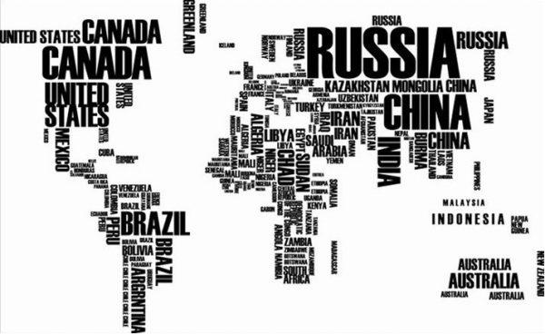 Wereldkaart letters