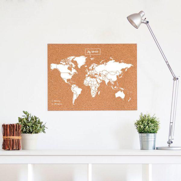 Wereldkaart prikbord