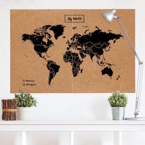Wereldkaart prikbord XXL zwart