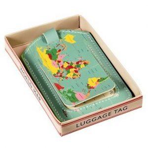 Bagagelabel wereldkaart vintage