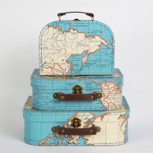 Koffertjes wereldkaart